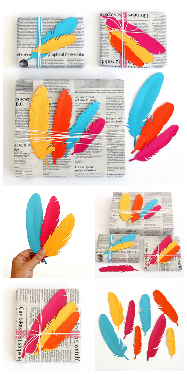 Printable feather design. Great to spice up gift wrap.