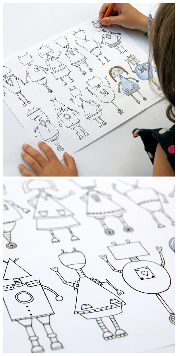 Printable Robot Coloring Page For Kids.