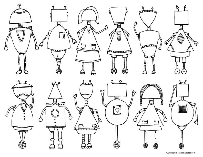 Printable Robot Coloring Page Dabbles Babblesrhdabblesandbabbles: Robot Coloring Pages For Toddlers At Baymontmadison.com