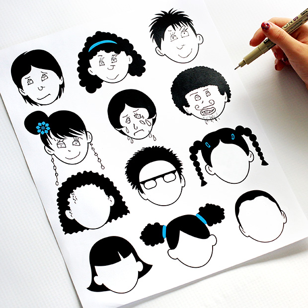 Blank Faces Coloring Pages
