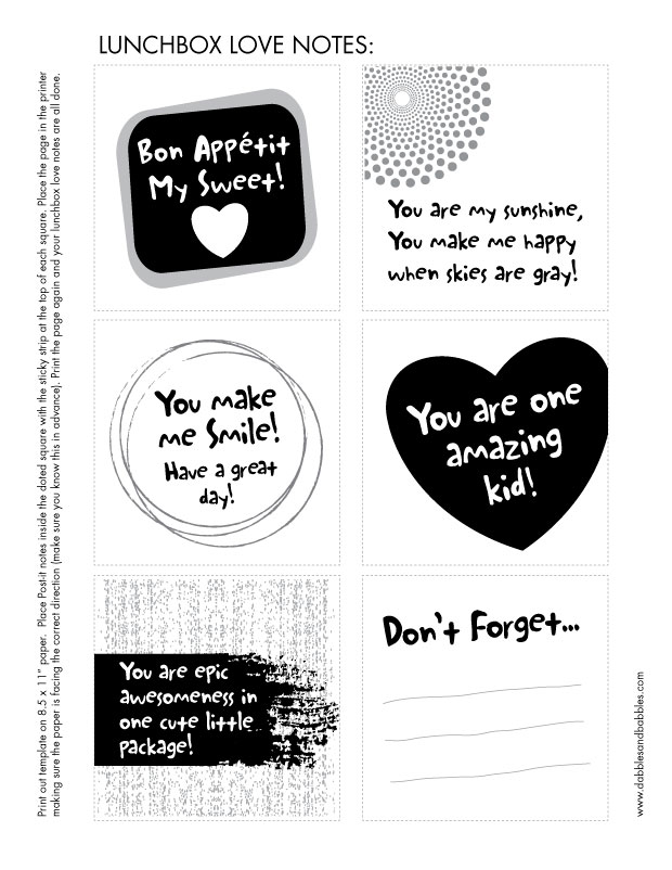 Free template to make Post-it Note lunchbox love notes.