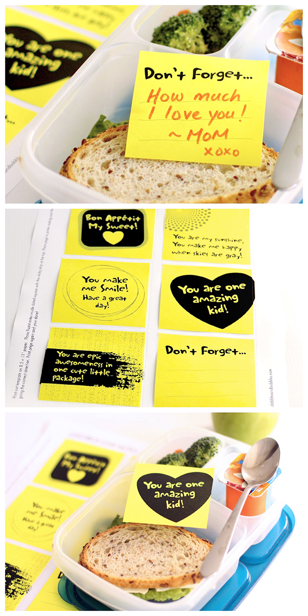 Printable template for lunchbox lovenotes