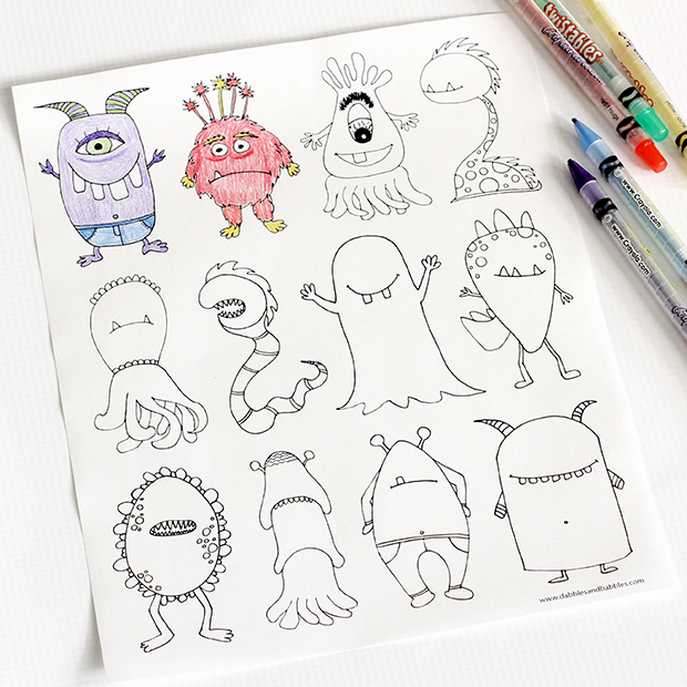 Monsters Coloring Page - Dabbles & Babbles