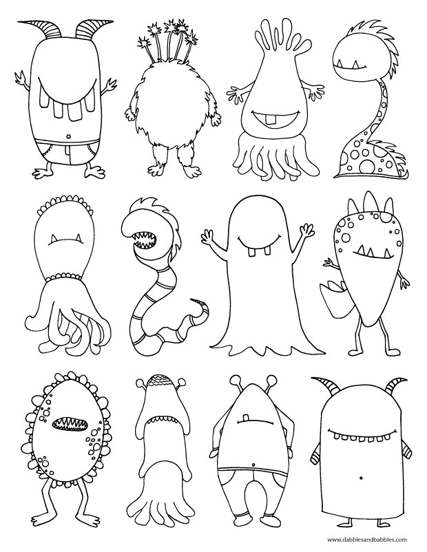 The kids will love this scary monster coloring page.