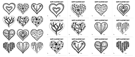 Hearts Coloring Page and Valentine\'s Day Cards - Dabbles & Babbles