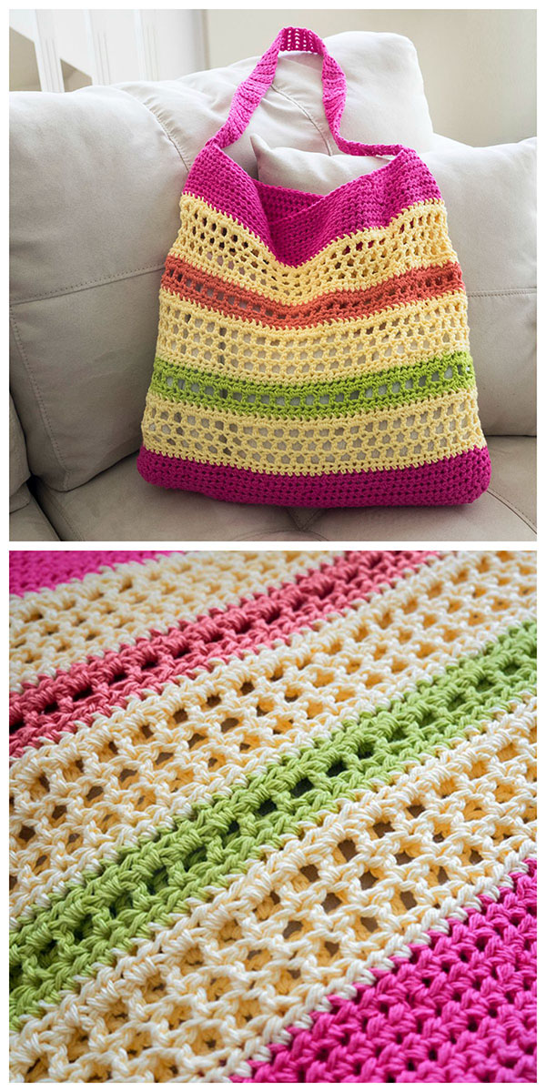 Crochet Tote Pattern : Free Crochet Beach Tote Bag Pattern