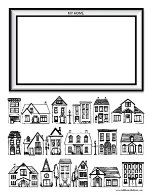 free houses coloring page