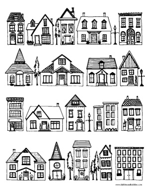 Houses coloring page dabbles babbles for Two story house drawing