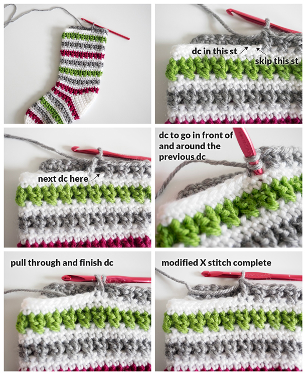 Crochet - Modified X-Stitch Tutorial. Add some Christmas cheer to your mantle with this free crochet Christmas stocking pattern. The stunning stripped design can be easily made in only two days.
