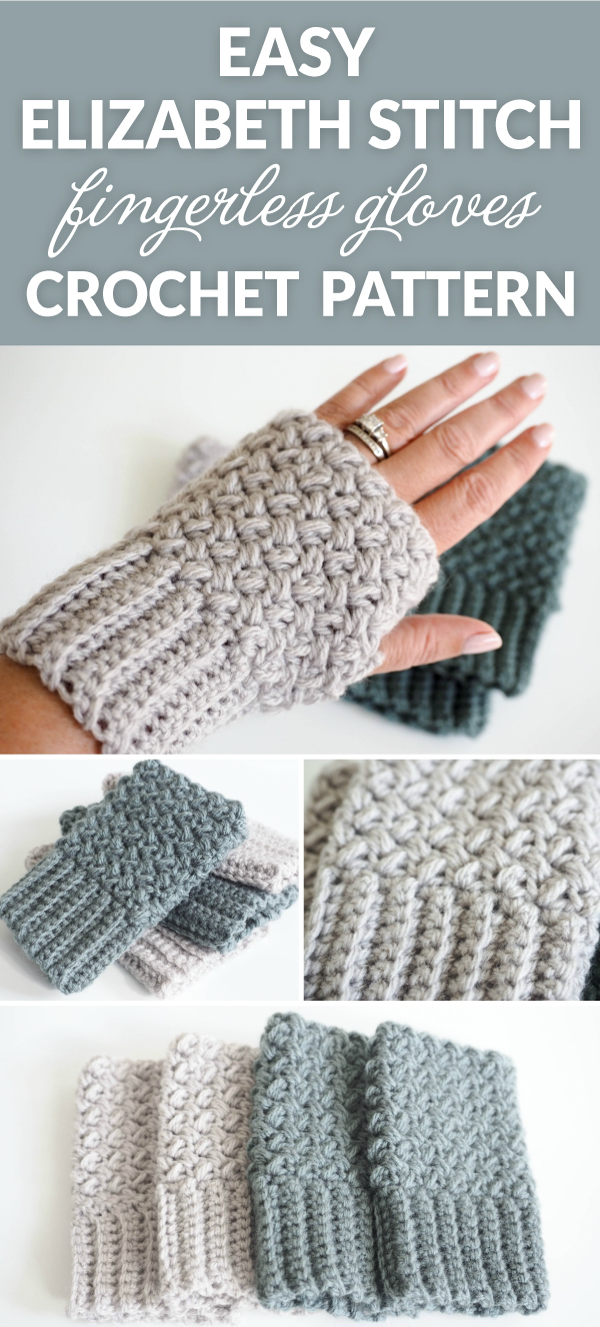 Crochet Gloves With Finger Holes >> Easy Elizabeth Stitch Fingerless Gloves Crochet Pattern - Dabbles & Babbles