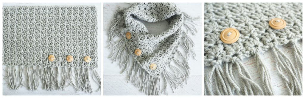 The Easy Breezy Buttoned Cowl is so easy to make and works up quickly. If you're looking for a simple crochet project that looks great with just about any outfit, this project is perfect for you. #crochetpattern #crochetaddict #crochetgift #crochetlove #crochetcowl