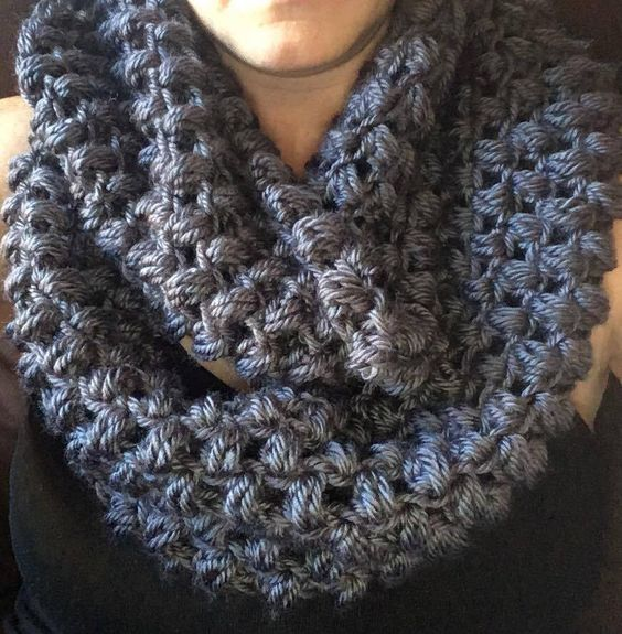 Puff Stitch Circle Scarf