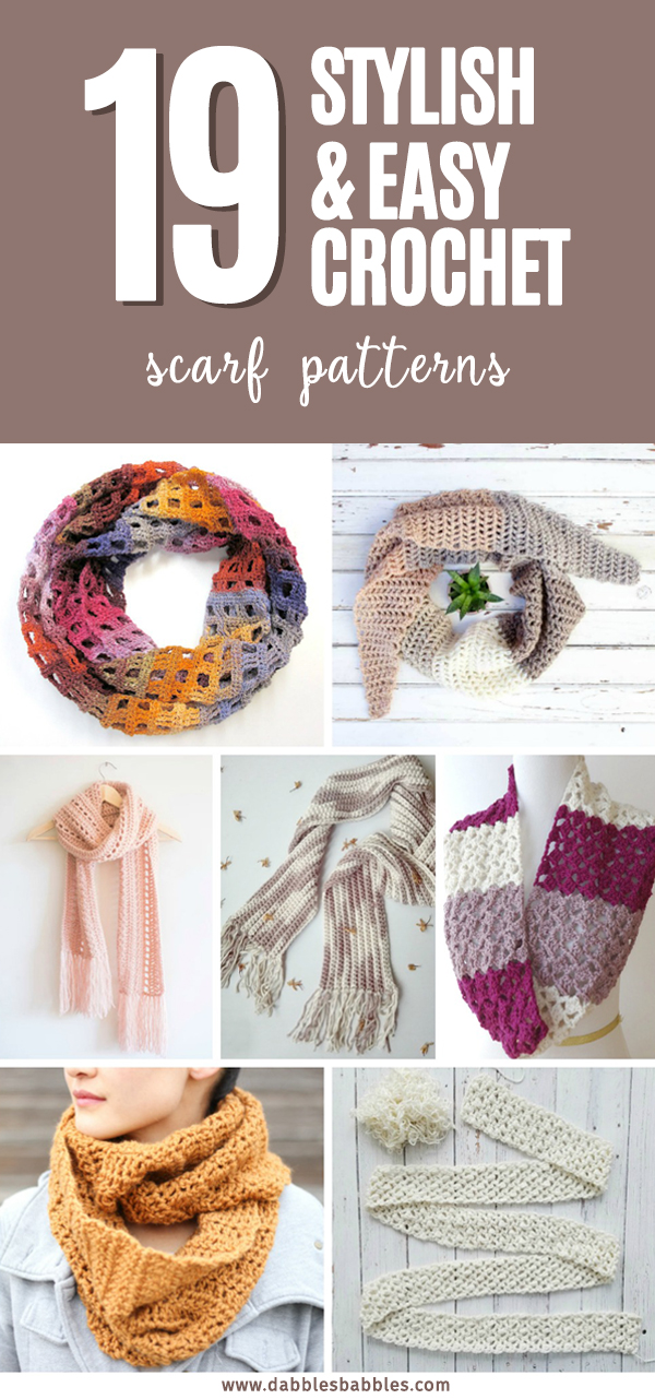 19 Stylish and Easy Crochet Scarf Patterns - These easy crochet scarf patterns will fit any mood or any style. #crochetpatterns #crochetscarf #crochetlove #crochetaddict