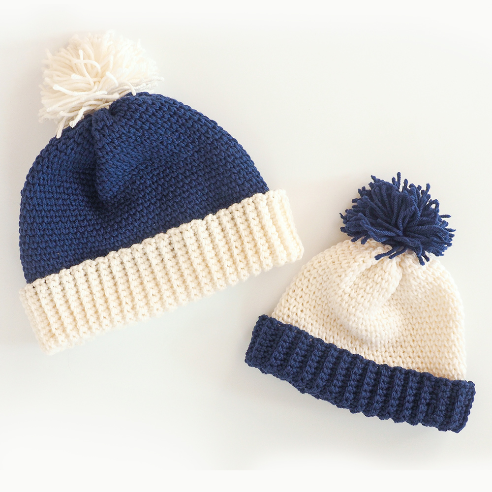 This family beanie hats pattern is so cute and I love the idea of a whole family with matching hats. #crochetbeanie #crochethat #crochetpattern #crochetlove #crochetaddict