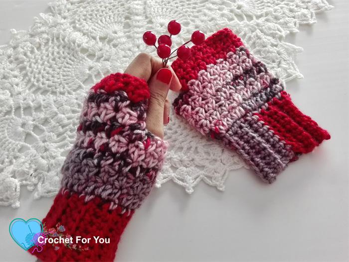 Winter's Cerise Crochet Fingerless Gloves