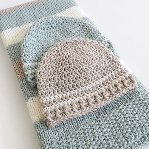 Easy Striped Crochet Baby Hat Pattern - Dabbles & Babbles