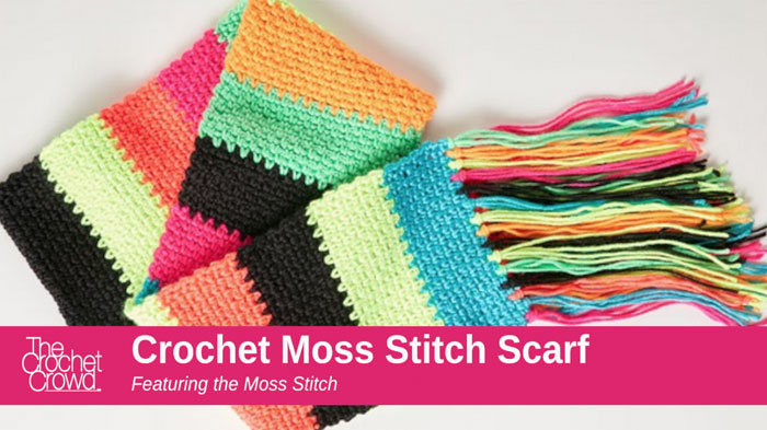 Moss Stitch Scarf - Test out your knowledge of the moss stitch with these crochet patterns. These crochet stitch patterns are unique and colorful, and worthy of your time. #crochetstitches #crocheting #mossstitch #learntocrochet
