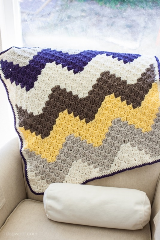 C2C Chevron Baby Blanket - This list of C2C crochet patterns will allow you make things you never dreamed of. Your friends will be impressed by your talent and you can make them gifts they could never buy in stores. #C2CCrochet #CornerToCornerCrochet #CrochetPatterns