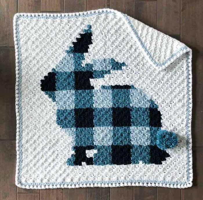 C2C Bunny Blanket - This list of C2C crochet patterns will allow you make things you never dreamed of. Your friends will be impressed by your talent and you can make them gifts they could never buy in stores. #C2CCrochet #CornerToCornerCrochet #CrochetPatterns