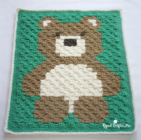 C2C Bernat Blanket Bear - This list of C2C crochet patterns will allow you make things you never dreamed of. Your friends will be impressed by your talent and you can make them gifts they could never buy in stores. #C2CCrochet #CornerToCornerCrochet #CrochetPatterns