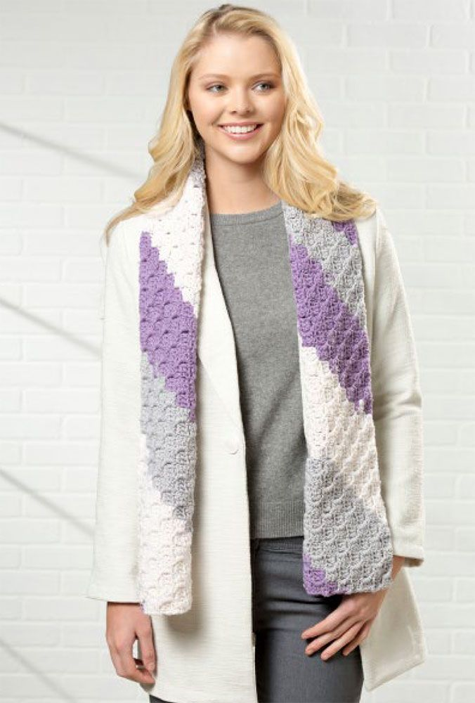C2C Scarf - This list of C2C crochet patterns will allow you make things you never dreamed of. Your friends will be impressed by your talent and you can make them gifts they could never buy in stores. #C2CCrochet #CornerToCornerCrochet #CrochetPatterns