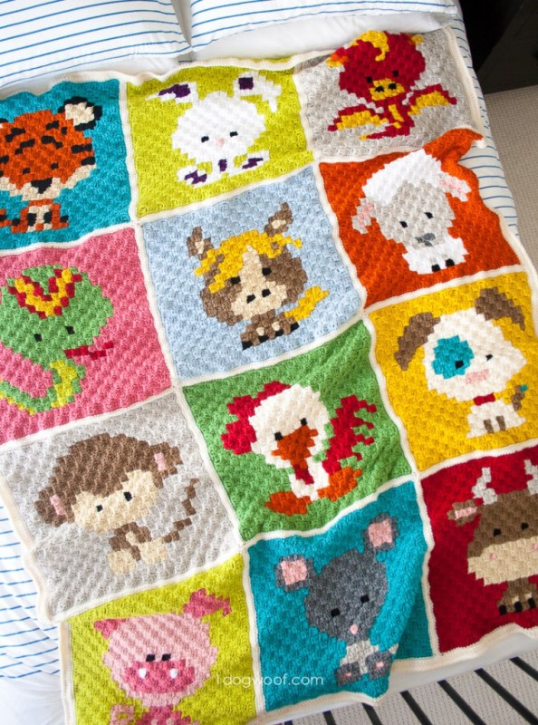 Zoodiacs C2C Afghan - This list of C2C crochet patterns will allow you make things you never dreamed of. Your friends will be impressed by your talent and you can make them gifts they could never buy in stores. #C2CCrochet #CornerToCornerCrochet #CrochetPatterns