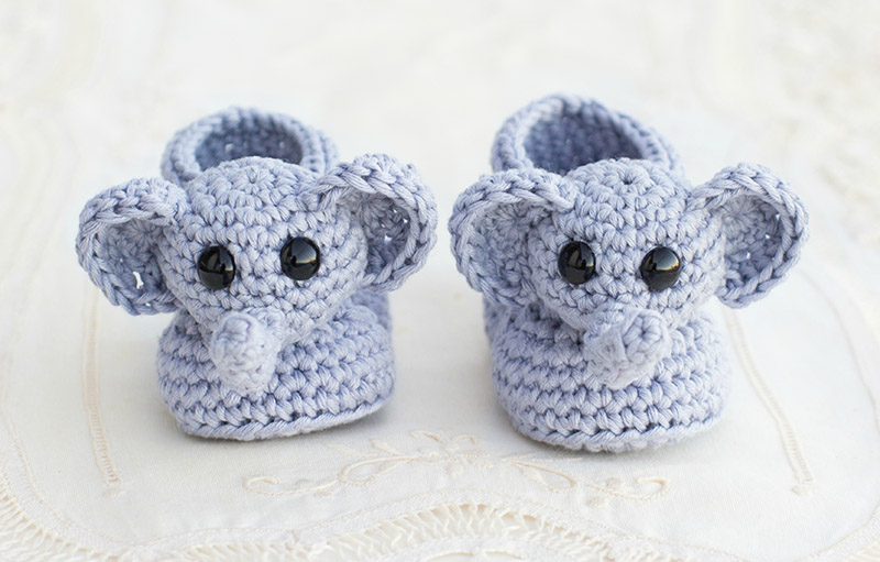 Ellie Elephant Baby Booties - One of the most challenging parts about crochet is finding the right crochet pattern. This list of free crochet patterns will guide you in the right direction. #CrochetPattern #CrochetAddict #FreeCrochetPatterns
