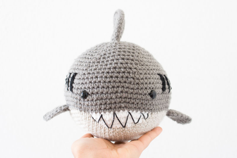 Crochet Shark Amigurumi - These free amigurumi patterns and crochet toys are so fun, it will make you want to be a kid again. These cute patterns are imaginative and sweet. #AmigurumiPatterns #CrochetPatterns #FreeCrochetPatterns