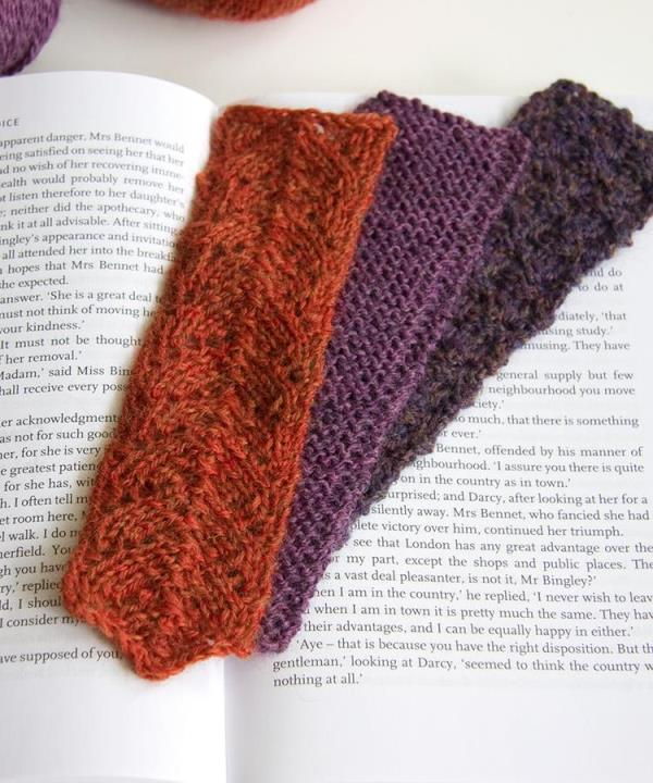 Bookmark Trio - These knitting patterns are fun and diverse. There are so many options to choose from and most of them make great easy knitting projects for beginners. #KnittingPatterns #EasyKnittingProjects