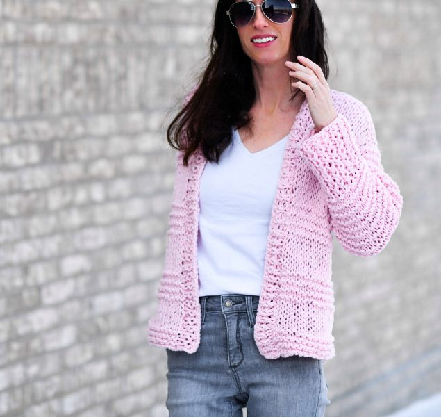 Cotton Candy Knit Cardigan - These knitting patterns are fun and diverse. There are so many options to choose from and most of them make great easy knitting projects for beginners. #KnittingPatterns #EasyKnittingProjects