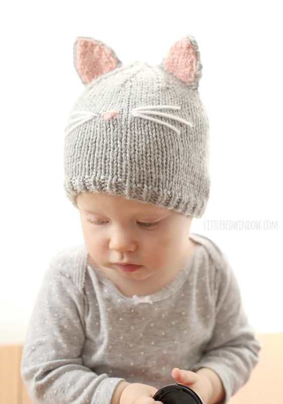 Pretty Cat Hat - These knitting patterns are fun and diverse. There are so many options to choose from and most of them make great easy knitting projects for beginners. #KnittingPatterns #EasyKnittingProjects