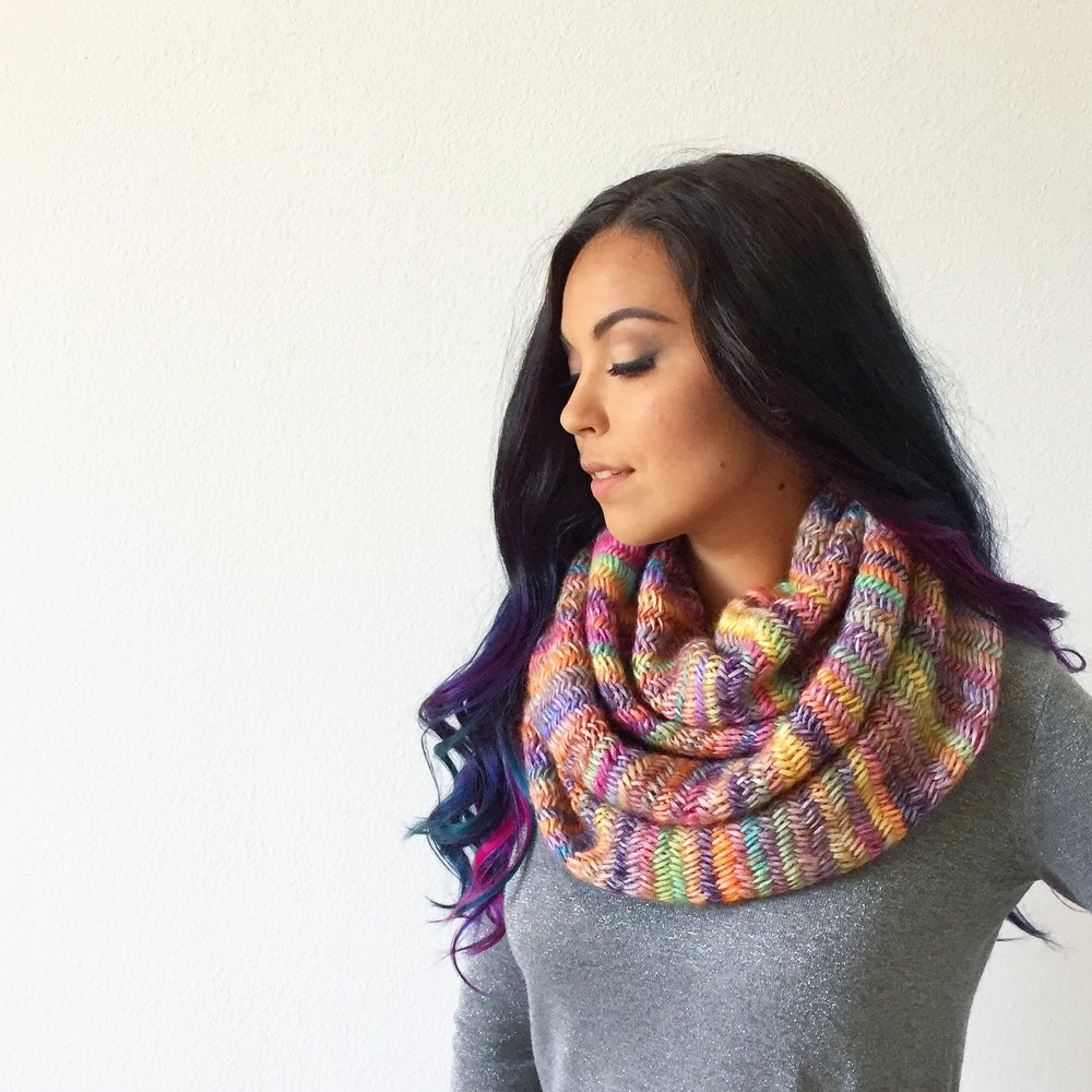 Misty Rainbow Scarf - We've gathered here 21 cozy scarf knitting patterns that you can knit quickly, just in time for fall and impending winter. #ScarfKnittingPatterns #KnittingPatterns #ScarfPatterns