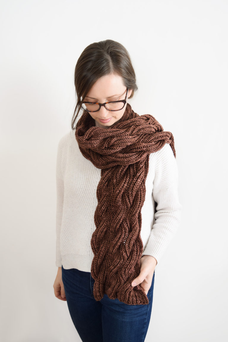 The Rosewood Scarf - We've gathered here 21 cozy scarf knitting patterns that you can knit quickly, just in time for fall and impending winter. #ScarfKnittingPatterns #KnittingPatterns #ScarfPatterns