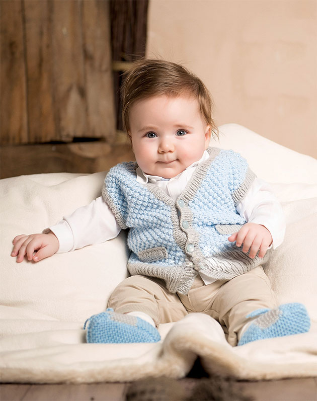 Knitted Baby Vest - These 27 knitting patterns for babies range from diaper covers, booties, blankets, to hats and headbands. #knittingpatterns #babyknittingpatterns #adorableknittingpatterns